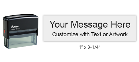 """Customize this 1"""" x 3-1/4"""" stamp with 6 lines of text or artwork in a choice of 11 ink colors! Perfect for addresses or logos. Ships free in 1-2 business days!"""