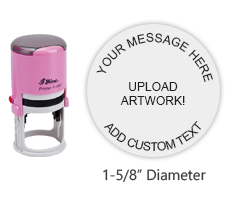 "Customize this 1-5/8"" round pink stamp with 6 lines of text or artwork in a choice of 11 ink colors! Great for monograms or logos. Orders over $25 ship free!"