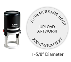 """Customize this 1-5/8"""" round stamp with 6 lines of text or artwork in a choice of 11 ink colors! Great for monograms or logos. Ships in 1-2 business days!"""