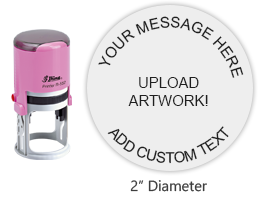 "Customize this 2"" round pink stamp with 6 lines of text or artwork in a choice of 11 ink colors! Great for monograms or logos. Orders over $25 ship free!"