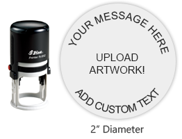 """Customize this 2"""" round stamp with 6 lines of text or artwork in a choice of 11 ink colors! Great for monograms or logos. Ships in 1-2 business days!"""