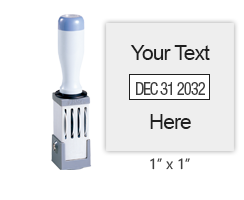 Customize this 1 inch square dater with up to 1 line of text above and below date. Use with separate ink pad. Ideal for inspections. Orders over $45 ship free!
