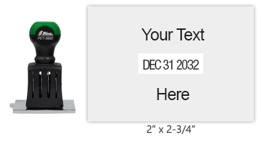 """Personalize this 2"""" x 2-3/4"""" dater with up to four lines of text above and below the date. Use with ink pad sold separately. Orders over $45 ship free!"""