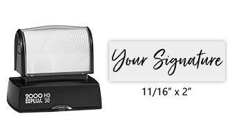 Don't write it, Stamp it! Customize this HD30 pre-inked stamp with your actual signature in your choice of 11 ink colors! Free shipping on orders over $45!