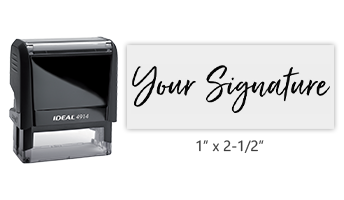 Don't write it, Stamp it! Customize an Ideal 4914 self-inking stamp with your actual signature in your choice of 11 ink colors! Free shipping on orders over $45!