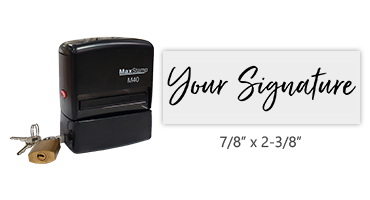 Don't write it, Stamp it! Customize this self-inking stamp with locking case with your actual signature in your choice of 11 ink colors! Free shipping on orders over $25!