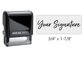 Don't write it, Stamp it! Small self-inking stamp with your actual signature in your choice of 11 ink colors! Free shipping on orders over $25!