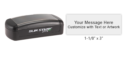 Great on the go stamp! Customize up to 6 lines of text or use custom artwork. Available in 5 oil-based ink color options.