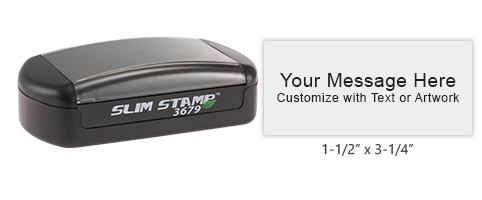 Customize this pre-inked Slim-3679 pocket stamp with 8 lines of text or artwork, available in 5 ink colors. Free shipping on orders over $45!