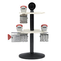 This heavy duty stamp rack will hold up to 14 stamps (non-self-inking & small daters) Metal rack rotates with ease & allows a clutter-free space.