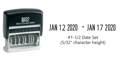 "This stock double dater is ideal for office use and is available in black ink. The date height is approximately 5/32"" and includes 6 year bands."