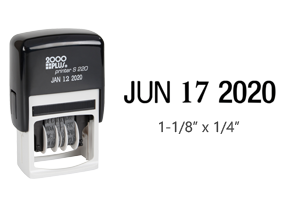 "This eco-friendly date stamp contains an impression size of 1/4"" x 1-1/8"", a 5/32"" character height and comes in black ink. Ships free in 2-3 business days."