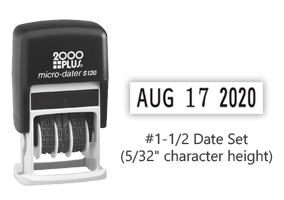 "This easy to use self-inking micro dater has an impression size of 3/8"" x 5/32"" and has 6 year bands included. This non-customizable stamp comes in black ink."