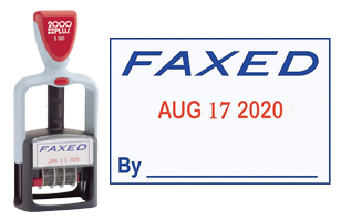 "This stock self-inking FAXED message date stamp has an impression size of 1-1/4"" x 1-13/16"", comes in a 2-color, blue/red, option and includes 6 year bands."