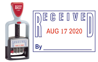 "This stock self-inking RECEIVED message date stamp has an impression size of 1-1/4"" x 1-13/16"", comes in a 2-color, blue/red, option and includes 6 year bands."