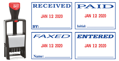 "This 4-in-1 date stamp includes 4 interchangeable phrases: Received, Paid, Entered or Faxed, an impression size of 1-1/4"" x 1-13/16"" and comes in red/blue ink."