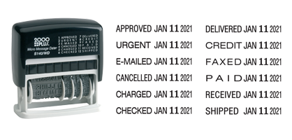 "This stock 3/8"" x 1-1/4"" date stamp is equipped with 12 different phrases, a five-year band and a black ink pad. Use phrases and date together or separately."