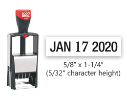 "This 5/8"" x 1-1/4"" stock self-inking dater features a metal frame for repetitive stamping and includes black ink. Reinkable and includes a five year band."