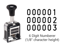 "This 6 wheel automatic numbering machine includes a dry (un-inked) pad and supply of black ink. The numeric impressions character height is 1/8""."