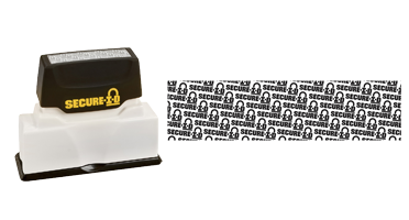 "The pre-inked Secure-ID stamp prevents identity theft by distorting personal information. The impression size is 5/16 x 2-1/2"" and is available in black ink."