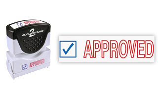 This pre-inked Approved message stamp comes in a two-color, red/blue, option and has a shutter action dust cover to deliver a crisp impression each time.