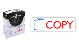 This pre-inked Copy message stamp comes in a two-color, red/blue, option and has a shutter action dust cover to deliver a crisp impression each time.