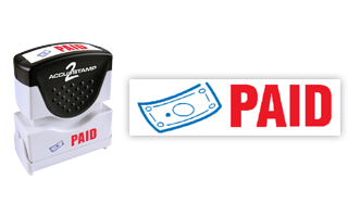 This pre-inked Paid message stamp comes in a two-color, red/blue, option and has a shutter action dust cover to deliver a crisp impression each time.