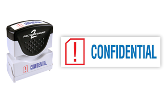 This pre-inked Confidential message stamp comes in a two-color, red/blue, option and has a shutter action dust cover to deliver a crisp impression each time.