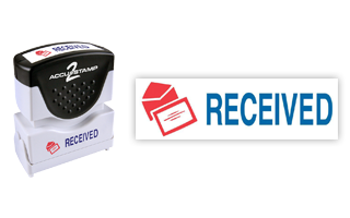 This pre-inked Received message stamp comes in a two-color, red/blue, option and has a shutter action dust cover to deliver a crisp impression each time.