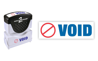 This pre-inked Void message stamp comes in a two-color, red/blue, option and has a shutter action dust cover to deliver a crisp impression each time.
