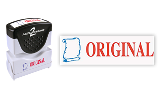This pre-inked Original message stamp comes in a two-color, red/blue, option and has a shutter action dust cover to deliver a crisp impression each time.