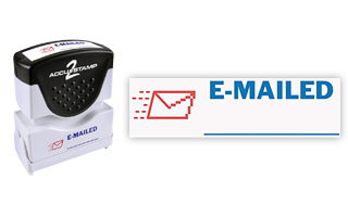 This pre-inked E-Mailed message stamp comes in a two-color, red/blue, option and has a shutter action dust cover to deliver a crisp impression each time.