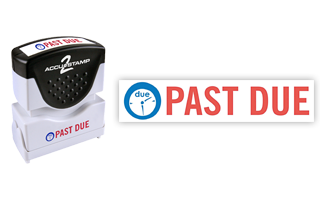 This pre-inked Past Due message stamp comes in a two-color, red/blue, option and has a shutter action dust cover to deliver a crisp impression each time.