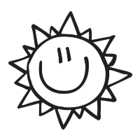 Smiley face sun self-inking rubber stamp available in a choice of 3 sizes and 11 ink color options. Refillable with Ideal ink. Free shipping on orders over $15.