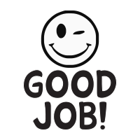 Good job wink smiley face self-inking rubber stamp available in 3 sizes and 11 different ink colors. Refillable with Ideal ink. Free shipping on orders over $15.