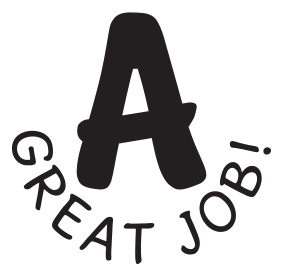 A - Great Job self-inking rubber stamp available in your choice of 3 sizes and 11 different ink colors. Refillable with Ideal ink. Orders over $25 ship free.