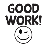 Good work wink smiley face self-inking rubber stamp available in 3 sizes and 11 different ink colors. Reink with Ideal ink. Free shipping on orders over $15.