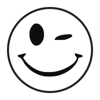 Winking smiley face self-inking rubber stamp available in a choice of 3 sizes and 11 different ink colors. Refillable with Ideal ink. Orders over $15 ship free.