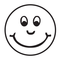 Smiley face with cheeks self-inking rubber stamp available in 4 sizes and 11 different ink colors. Refillable with Ideal ink. Free shipping on orders over $25.