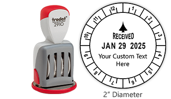 """Personalize this Trodat 12 hour date & time stamp w/ your own custom text! Impression is 2"""" in diameter w/ rotating dial for time. Orders over $45 ship free!"""