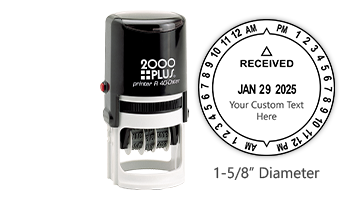 """Personalize this 12 hour self-inking date & time stamp with your own custom text! Impression is 1-5/8"""" in diameter. Orders over $45 ship free!"""