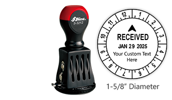 """Personalize this 12 hour date & time stamp with your own custom text! Impression is 1-5/8"""" in diameter with rotating dial for time. Orders over $45 ship free!"""