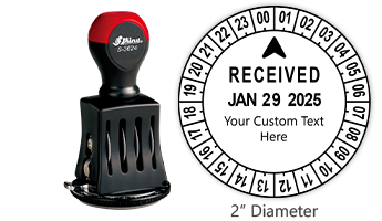 """Personalize this 24 hour date & time stamp with your own custom text! Impression is 2"""" in diameter with rotating dial for time. Orders over $45 ship free!"""
