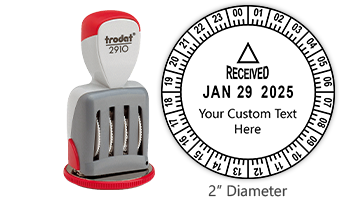 """Personalize this Trodat 24 hour date & time stamp w/ your own custom text! Impression is 2"""" in diameter w/ rotating dial for time. Orders over $45 ship free!"""