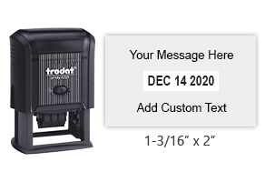 "Make your own 1-3/16"" x 2"" self-inking date stamp with 4 lines of custom text. Choose from of 11 ink colors or a 2-color pad option. Orders over $25 ship free."