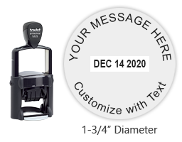 "Create a round 1-3/4"" self-inking dater with 4 lines of your own text. Choose from of 11 ink colors or a 2-color pad option. Orders over $25 ship free."