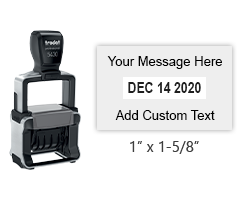 "This 1"" x 1-5/8"" self-inking date stamp can be customized with 1 line of text above and below the date. Choose from of 11 ink colors or a 2-color pad option."