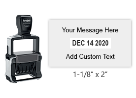 "This 1-1/8"" x 2"" self-inking date stamp has 2 lines of custom text. Choose from of 11 ink colors or a 2-color pad option. Orders over $25 ship free."