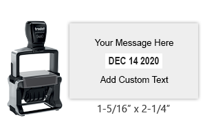 "Customize this 1-5/16"" x 2-1/4"" self-inking date stamp with 4 lines of text. Choose from of 11 ink colors or a 2-color pad option. Orders over $25 ship free."