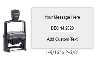 "Add 6 lines of your own text to this 1-9/16"" x 2-3/8"" self-inking date stamp. Choose from of 11 ink colors or a 2-color pad option. Orders over $25 ship free."